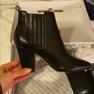 Block Heeled Black Leather Booties